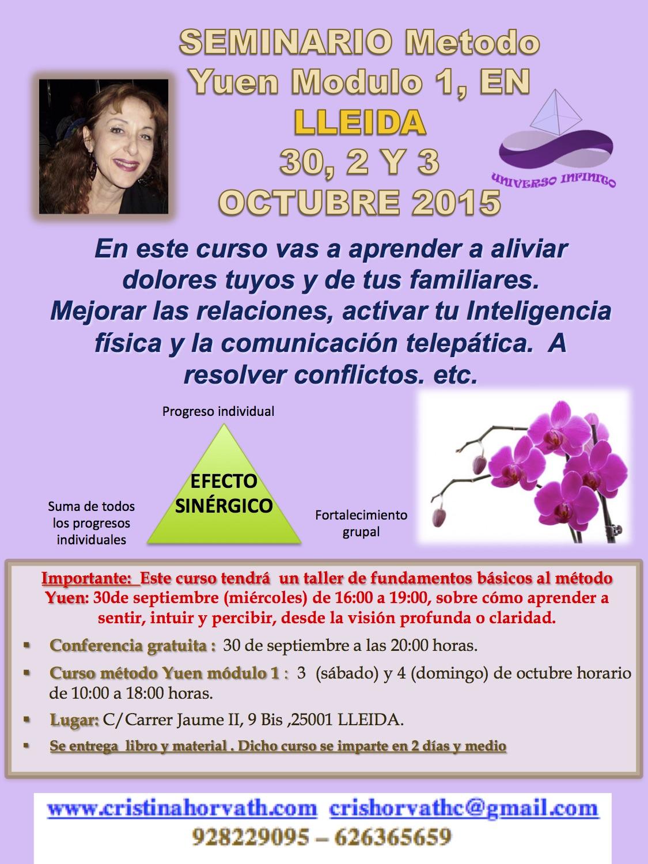Seminario en Lleida: 30, 2 y 3 de Octubre
